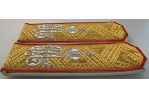 Shoulder straps of the Adjutant General Formation of His Imperial Majesty Emperor Alexander II embroidered in gold and silver, Russian Empire, Repro