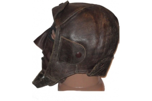 Summer leather helmet and leather pilot mask 1920 type, WW1, Red Army, Replica