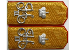 Shoulder-straps General of Infantry , overhead monogram Nicholas 2, Imperial Russian Army, Repro