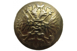 Button state emblem with anchors, yellow brass for lower ranks, Russia, Russian Imperial Navy, cast, Repro