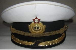 Фуражка офицерская ВМФ СССР, парадная летняя, плавсостав (береговой состав, копия