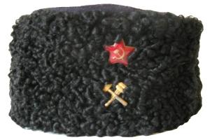 Шапка типа кубанки (финка) из черного каракуля для старшего и среднего начальствующих составов образца 1943 года, НКПС, СССР, копия